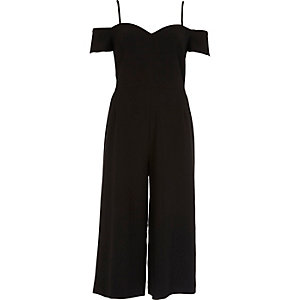 Black bardot culotte jumpsuit