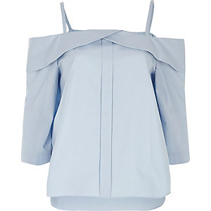 Light blue placket cold shoulder top