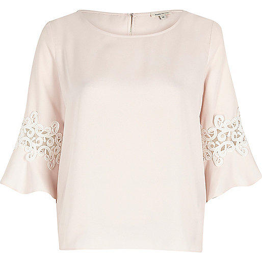 Light pink lace trim trumpet sleeve top