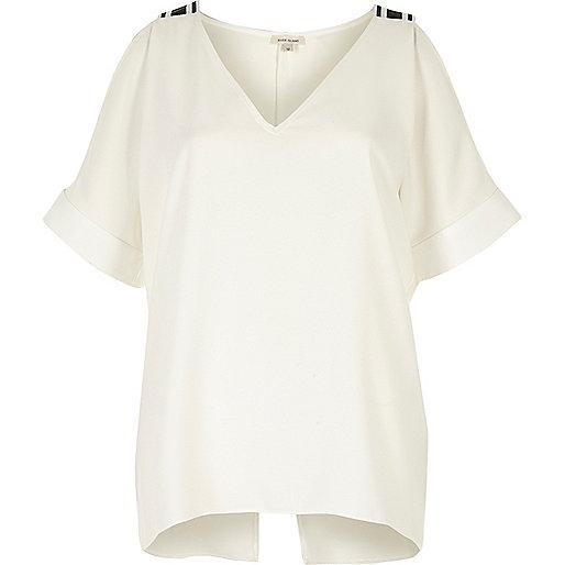 White cold shoulder V-neck top