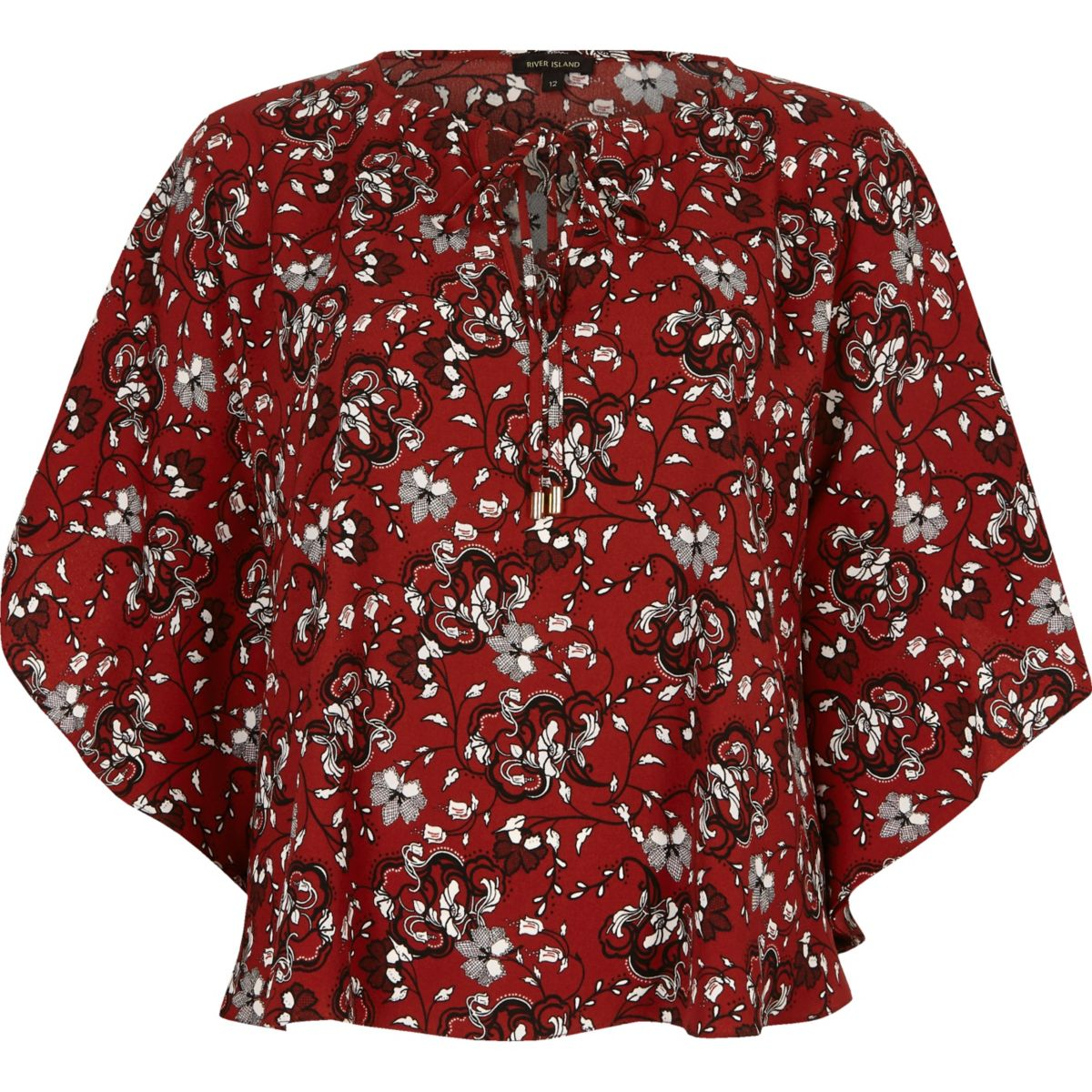 Red floral print poncho top