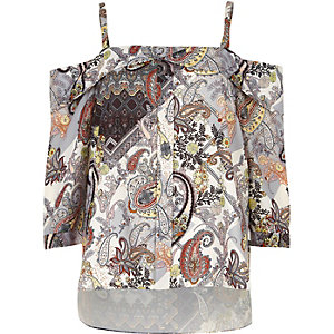 Cream print placket cold shoulder top