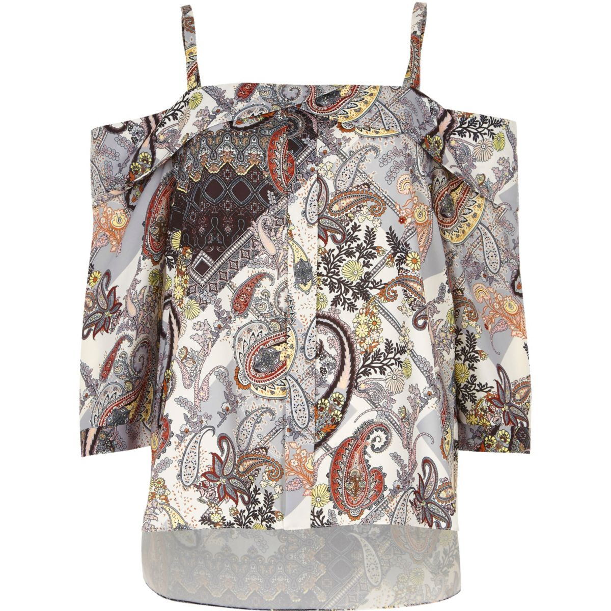 Cream print placket cold shoulder top