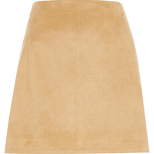 Tan faux suede stitch mini skirt