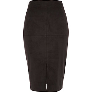 Black faux suede pencil skirt
