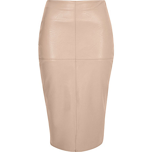 Nude faux leather pencil skirt