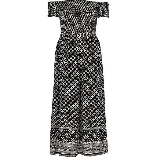 Black tile print shirred bardot maxi dress