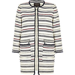 Navy blue striped trophy coat