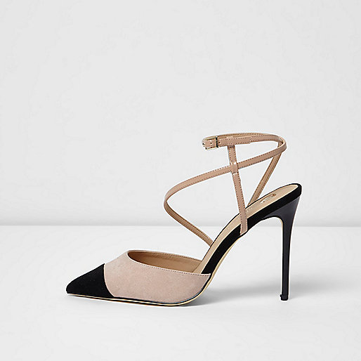Nude and black suede look strappy court shoes