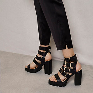 Black RI Studio buckle block heel sandals