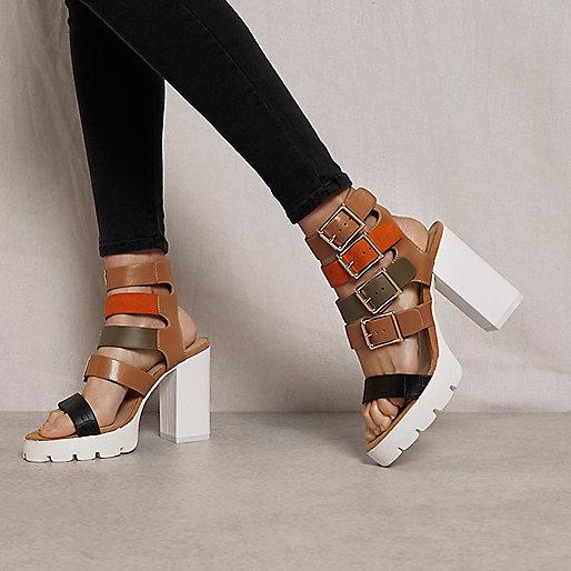 Brown RI Studio buckle block heel sandals