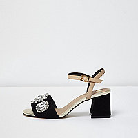 Black and nude rhinestone block heel sandals