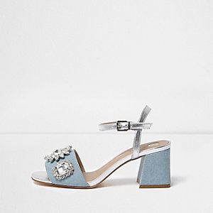 Light blue textured rhinestone block sandals
