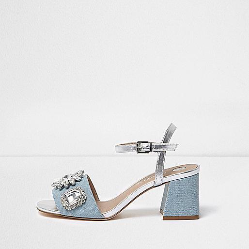 Light blue diamante block heel sandals