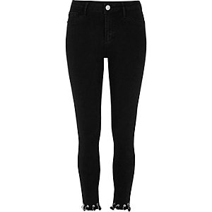 Black eyelet hem Molly jeggings