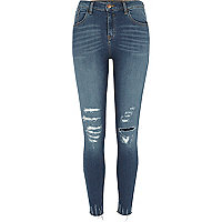 Blue distressed hem Amelie super skinny jeans