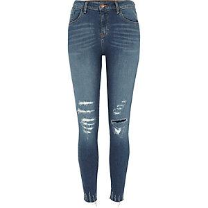 Blue distressed hem Amelie super skinny jeans