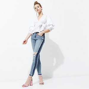 Blue wash Alannah panel ripped skinny jeans