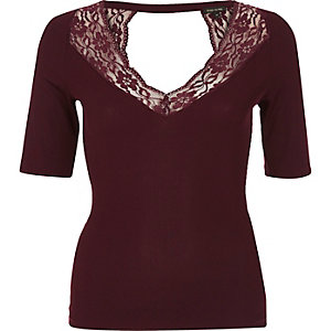 Dark red lace trim top