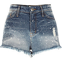 Mid blue paint splatter denim hot pants