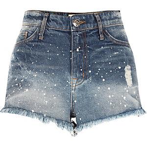 Mid blue paint splatter denim hot pants