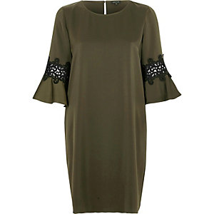 Khaki green trumpet sleeve swing dress