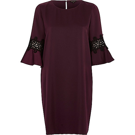 Dark purple bell sleeve swing dress