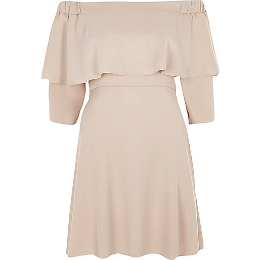 Light pink deep frill bardot swing dress