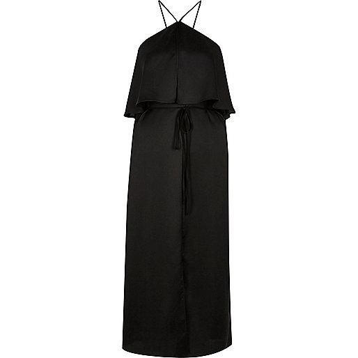 Black high neck slip dress