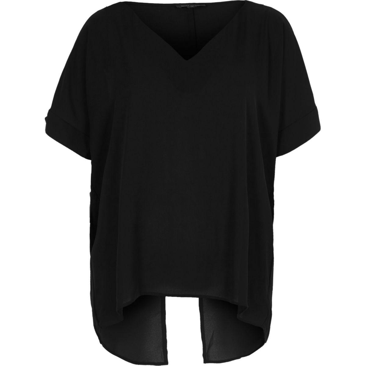 Zwarte schouderloze top met V-hals