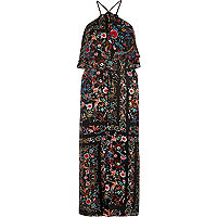 Floral print high neck slip dress