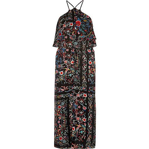 Robe à fleurs avec encolure montante