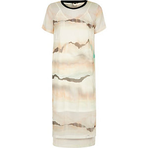 Cream print mesh T-shirt dress