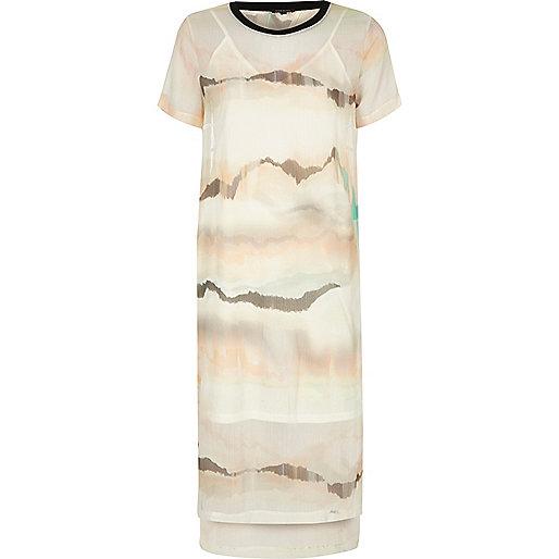 Cream print mesh T-shirt dress