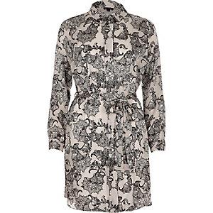 Grey print belted shirt dress