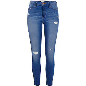 Molly - Blauwe ripped skinny jegging