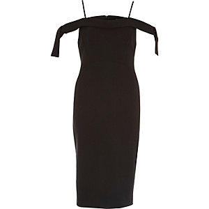 Black tie shoulder bodycon dress