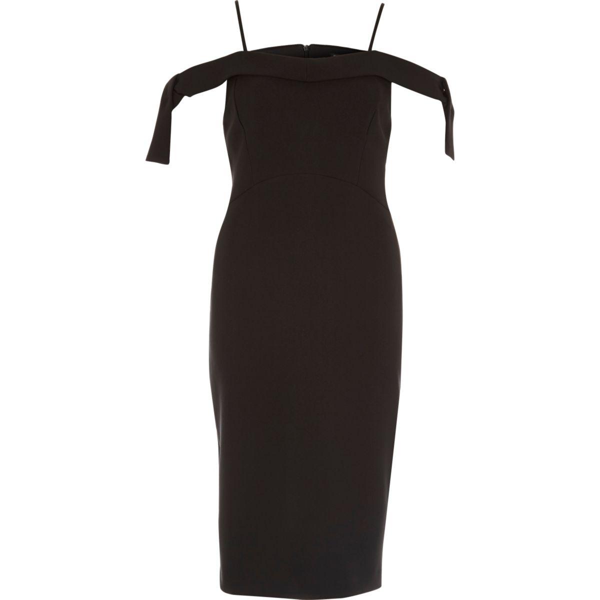 Black tie shoulder bodycon dress