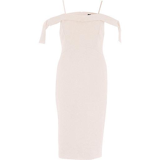 Light pink tie shoulder bodycon dress