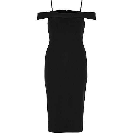Black strappy cold shoulder bodycon dress
