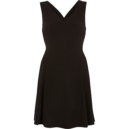 Black cross back skater dress