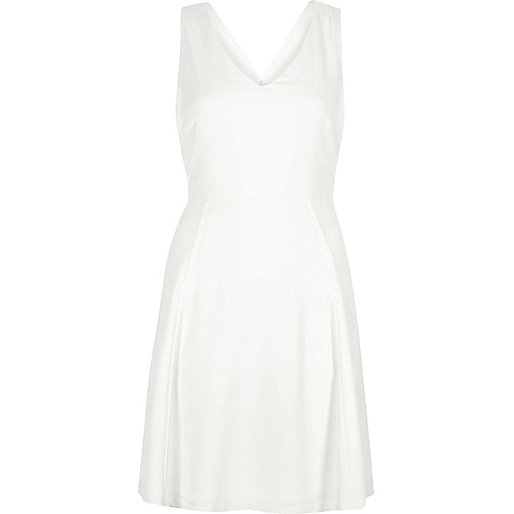 White cross back skater dress