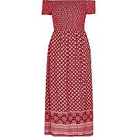Red scarf print bardot maxi dress