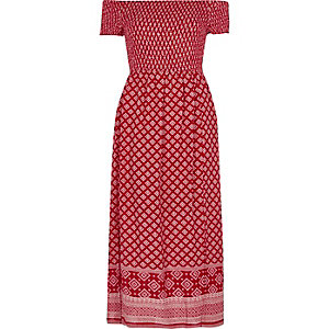 Red scarf print bardot maxi dress