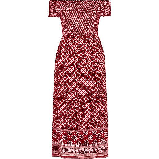 Robe longue Bardot imprimé foulard rouge