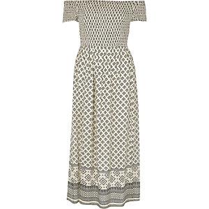 Robe longue Bardot imprimé mosaïque crème froncée