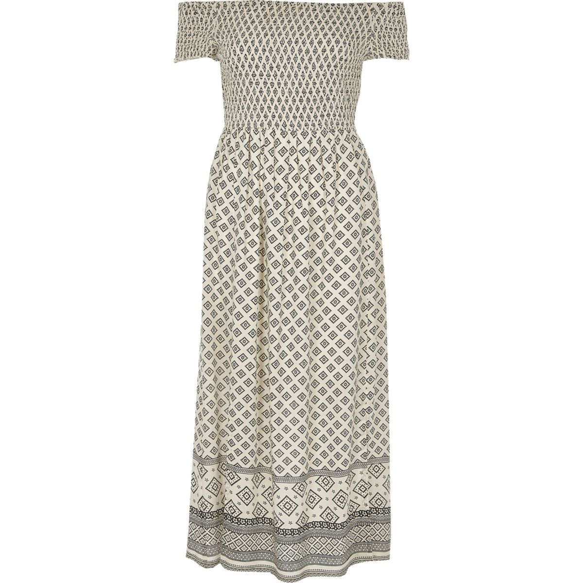 Cream tile shirred bardot maxi dress