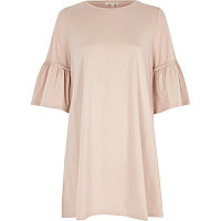 Pink flute sleeve longline smock dress