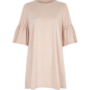 Pink flute sleeve longline smock dress