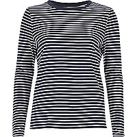 Navy stripe tie side top